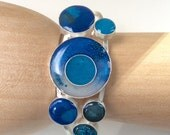 "Fine Silver and Resin Cuff Bracelet ""Key West4"""
