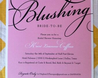 Bridal Shower Invitation, Square pink bridal shower, elegant bridal shower invite, classy bridal shower script font- DIY Square Invitation