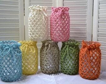 Crochet Candle Holder Luminaire Lantern 1 Quart Mason Jar Cover  Flower Vase White Pink Aqua Green Littlestsister
