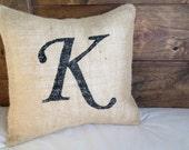 Custom Monogram Pillow, Burlap Pillow Cover, 12 x 12, Wedding Gift, Engagement Gift, Chic Home Decor, Wedding Decorations, 16X16, 14X14,