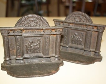 Antique Vintage Cast Iron Roman Styled Bookends