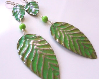 Green leaf metal earrings - Extra long shoulder duster green earrings