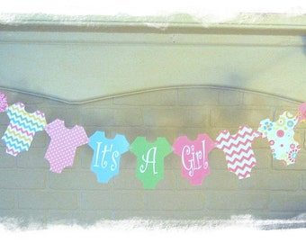Baby Banner It's A Girl, Baby Shower Decoration, Pink, Chevron, Bright Flowers, Polka Dots