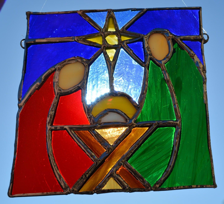 Stained glass christmas nativity panel suncatcher window