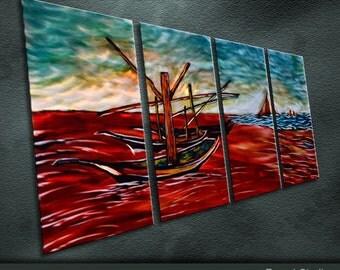 "Original Metal Wall Art Modern Painting Sculpture Indoor Outdoor Decor ""Red beach"" By Ning"