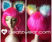 PREMADE Furry clip in disco kitty tie dye hippie trippy ears sparkle cat ears wolf animal costume cosplay faux fur hair clips