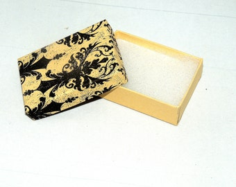50 Distressed Damask Print Cotton Filled Jewelry Presentation Gift Boxes size 3.25 x 2.25 ,  Damask Boxes