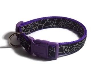Spider Web Purple Halloween Dog Collar