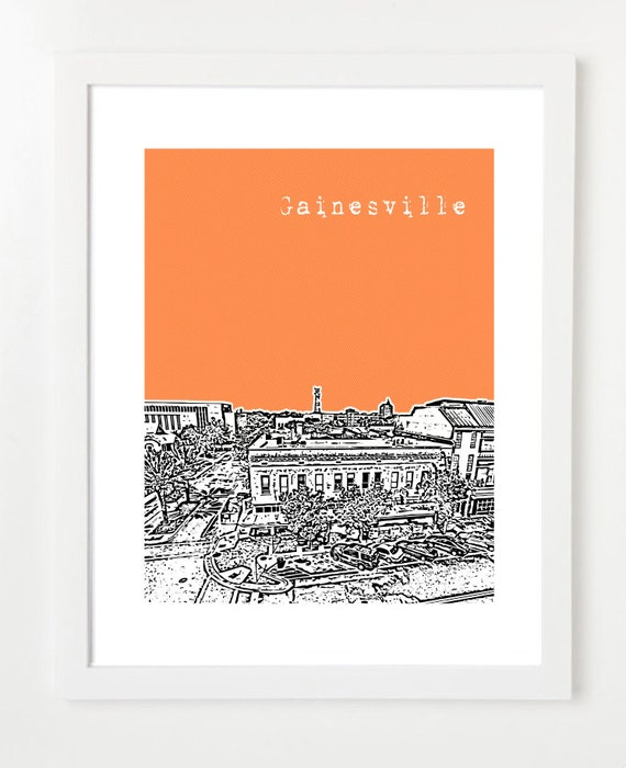 Gainesville Poster Gainesville Florida City Skyline Art