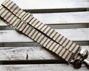 Black & Cream Ticking Stripe Suspenders (Black and Cream)