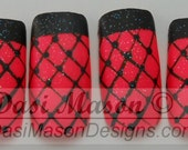 Quilted Pink Fishnets Instant Acrylic Nail Set
