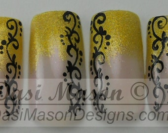 Black Arabesques on Holographic Yellow French Manicure Instant Acrylic Nail Set