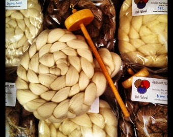 Spinner Starter Kits - Learn to Spin with Maple Spindle and 4 oz of Wool Fibre