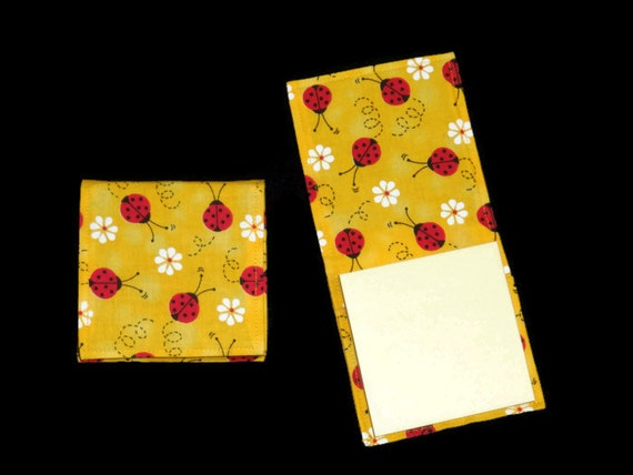 Ladybug Sticky Notepad Holder Refillable Fabric Cover Yellow