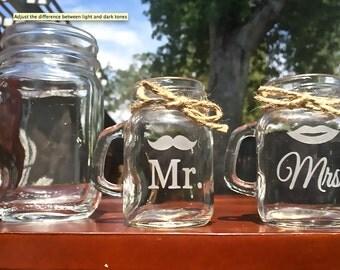2 Shot Glass Mugs, Shooter Mugs, 2 Mini Mason Jar Mugs, Shot Glasses