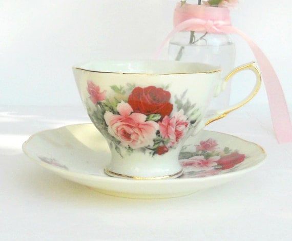 shabby chic sweet tea cup and saucer set by rosebudsoriginals. Black Bedroom Furniture Sets. Home Design Ideas