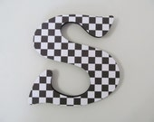 Checkers black and white Theme Nursery Letters, Girls/Boys Wall Art, Wall Decor, Baby Room, Nursery Art, Wooden Decor, Baby Shower gift 7""