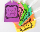Happy Spring Gift Tags Multi Color Pastel with Butterfly Detail (6) READY TO SHIP