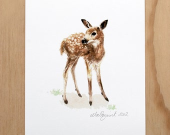 Standing Fawn - a Timorous Beastie print