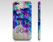 BEAUTY IN the RAIN Art iPhone 4 4s 5 5c 6 6s Custom Case, Choose Model, Abstract Watercolor Typography Painting Colorful Hard Plastic Cover