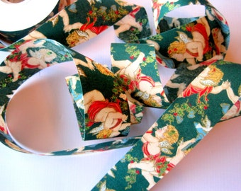 """Cherubs Angels Cotton Ribbon Trim, Multi / Green, 1 3/8"""" inch wide, 1 yard, For Mixed Media, Gifts, Scrapbook,  Home Decor, Accessories"""