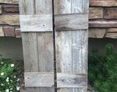 "2 Barnwood shutters. 11"" wide by 37"" tall."