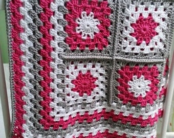 Beautiful handmade granny square baby blanket