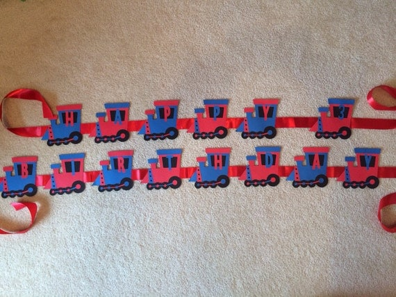 PRICE REDUCED - Train Birthday Banner - Customize