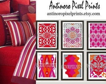 Wall Art Prints Orange Pink Red Vintage / Modern inspired  Art Prints Collection  -Set of (6) - 8 x 10 Prints - (UNFRAMED)