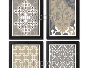 Khaki  / Grey  Vintage / Modern Inspired Art Prints Collection -Set of (4)- 8x10 prints- Featured in Khaki Grey White UNFRAMED