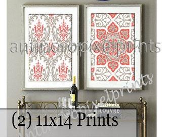 Digital Print Ikat Prints Coral Khaki Grey White Wall Art Vintage / Modern Inspired -Set of (2) -11x14 Prints -  (UNFRAMED)