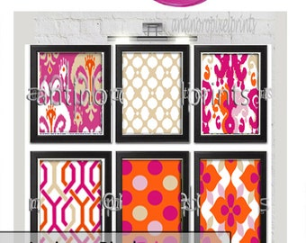 Children Collage Orange Turquoise Fuchsia Chartreuse Giraffe Ikat Wall Art Gallery - Set of (6) - 8x10 Prints - (UNFRAMED)