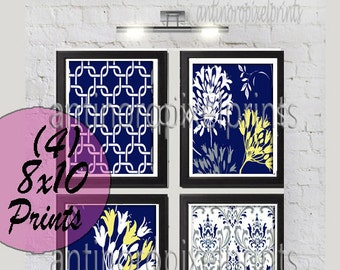 Navy Yellow Grey Floral Vintage / Modern inspired  Art Prints Collection  -Set of (4) - 8x10 Prints -   (UNFRAMED)