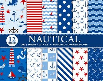 70% OFF SALE 12 Nautical Digital Scrapbook Paper, digital paper patterns for card making, invitations, scrapbooking.