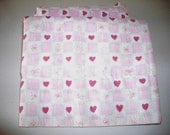 Polyester Cotton Fabric, 3 Valentine Valances, craft material, sewing fabric, red heart curtain fabric