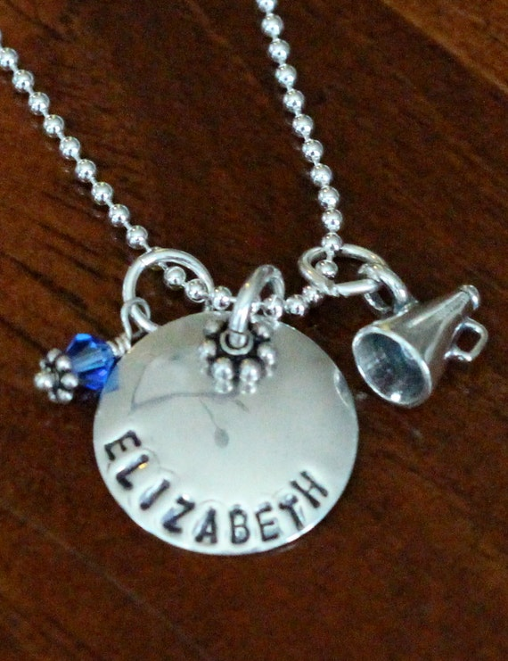 Cheerleader's Name Circle Necklace, Megaphone Charm, Cheer Jewelry Gift