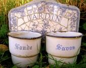 French white & blue 2 enamel where laundry cups. Paris