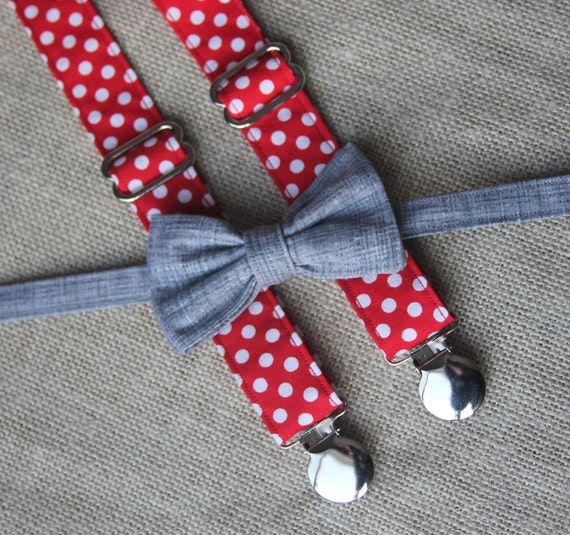 Dark Gray Texture Bow Tie and Red / White Polka Dot Suspender set ( Men, boys, baby, toddler, infant )