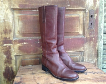 Brown Leather Riding Boots, Made in Italy, Tall Riding Boots, Womens Size 9 US