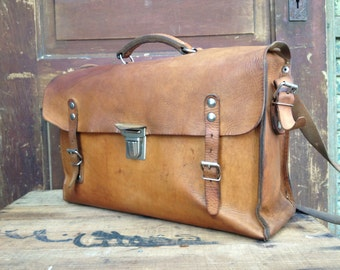 Brown Leather Messenger Bag, Rustic Sienna Brown Leather School Satchel Messenger Briefcase