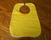 Baby Bib with Yellow Polka dots by Mimi's Magic Apron