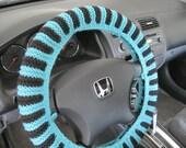 Knit Steering Wheel Cover, Wheel Cozy - aqua/black (KSWC1B)