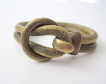 5mm Distressed Green Round Leather Bracelet Circle Hook Brass Women's Leather Bangle Handmade Last One in Brass