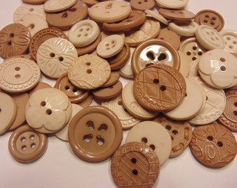 35 piece earth tone acrylic button mix, 11-20 mm (B11)