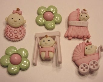 6 piece baby girl button set, 22-27 mm (B11)