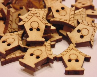5 wood bird house buttons, 20 x 22 mm (33)