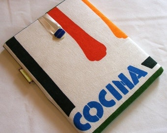 """iPad, Kindle Fire or other 10"""" Tablet / e-Reader Sleeve - Vintage 1980s Cooking themed Graphic Design"""
