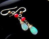 Sale 20%off Ethiopian Opal Earring Ruby Earring Gold Filled Earring Dangle Earring Drop Earring  Wire Wrap Jewelry