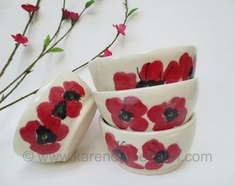 Ceramic bowl, ceramic salad bowl, bowl with poppies