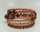 Pink and Bronze Multi Strand Memory Wire Braclet - Bangle, Wire Wrapped, Coral, Gold, Topaz, Brown, Mixed Bead, Boho